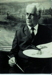 В.Ф. Илюшин у своей картины «Царево городище». 1970-е годы.